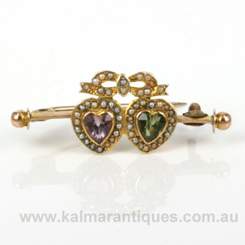 Antique peridot, amethyst and pearl suffragette brooch
