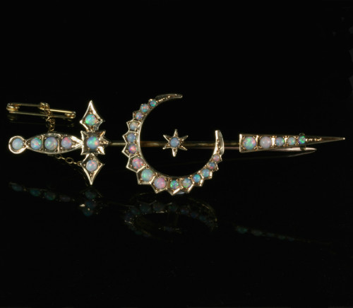 Antique sword and crescent moon brooch by Willis