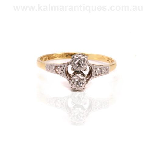 Antique Toi et moi diamond ring