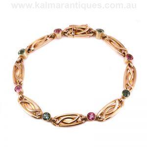 Antique Edwardian era pink and green tourmaline bracelet