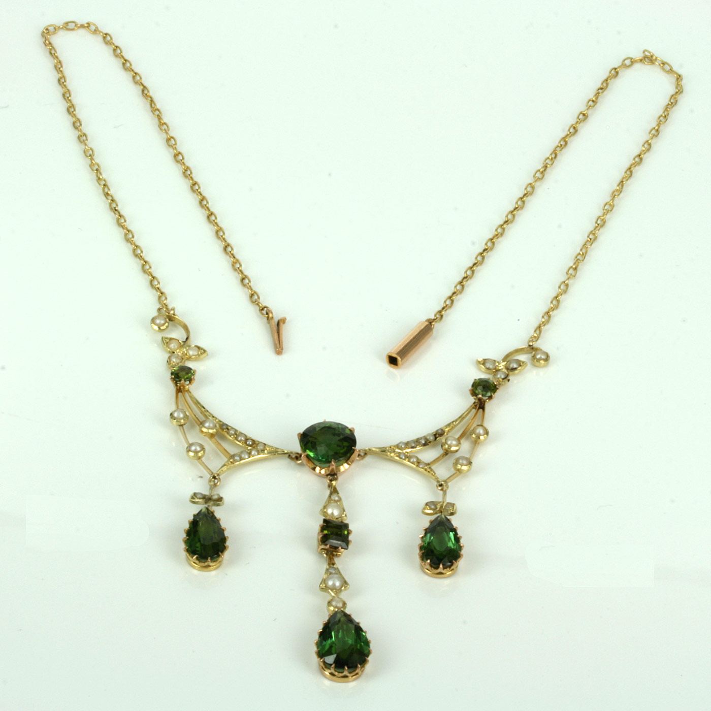 Buy Antique Tourmaline And Pearl Necklace Sold Items Sold