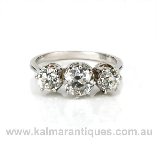 Platinum 3 stone diamond engagement ring