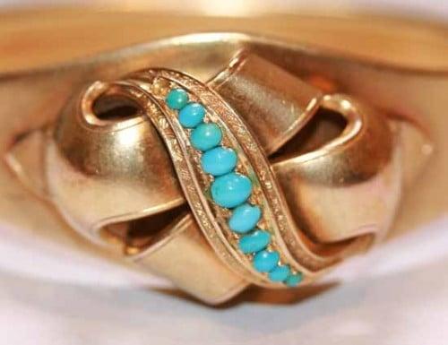 Victorian turquoise hinged bangle