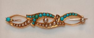 Turquoise and pearl brooch