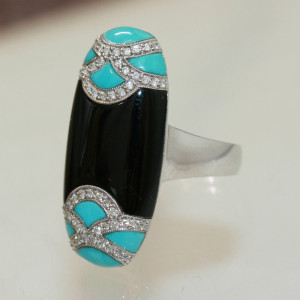 Onyx , turquoise and diamond ring.