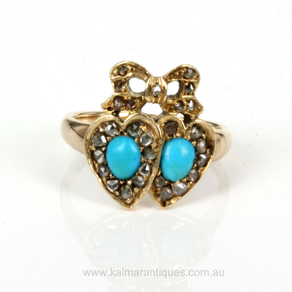 Buy Antique Turquoise And Diamond Double Heart Ring Antique Antique Engagement Rings