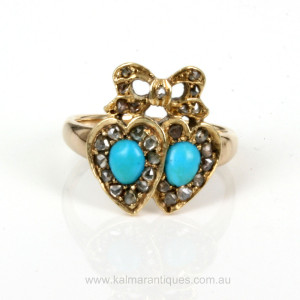 Antique turquoise and diamond double heart ring.
