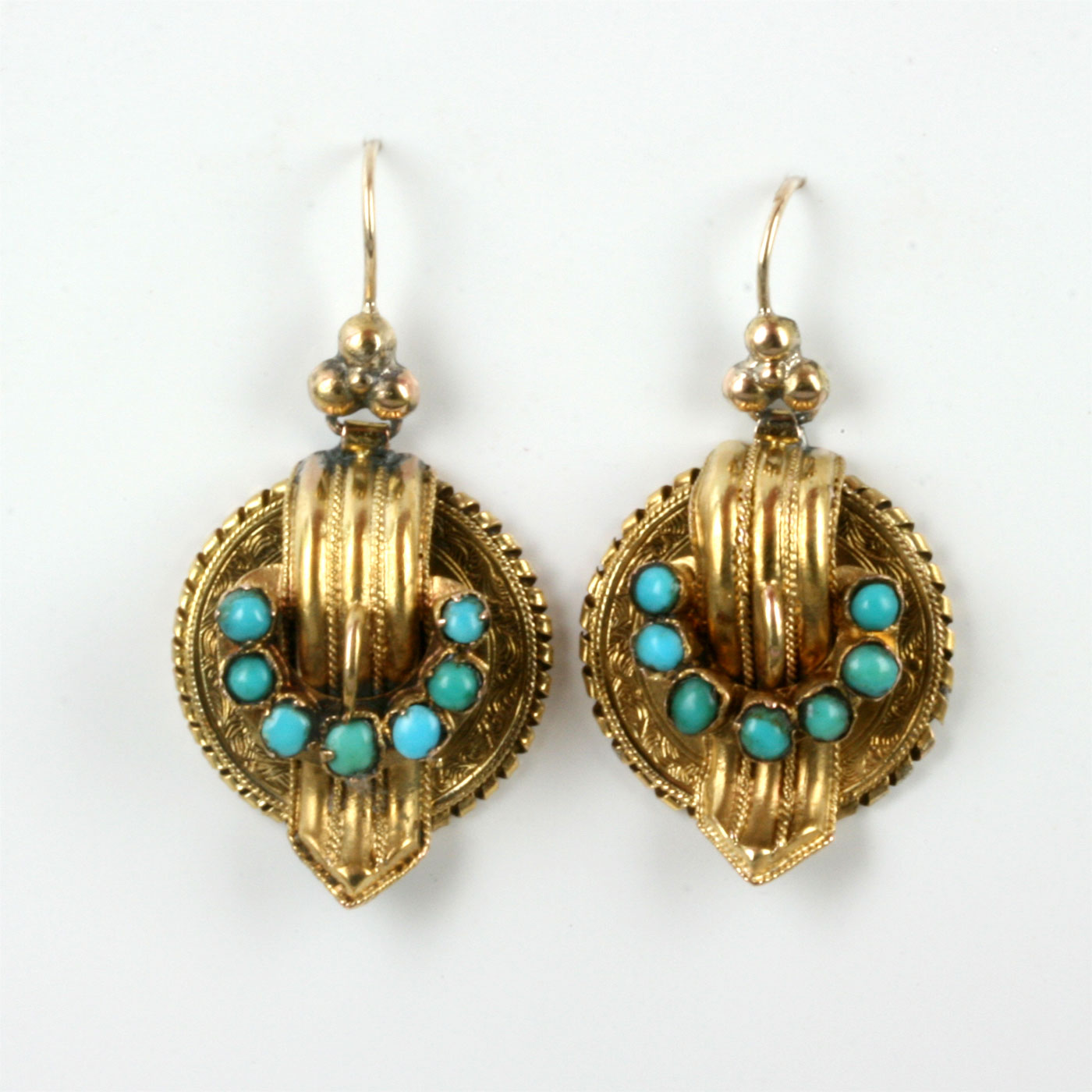 buy antique turquoise earrings in 15ct gold sold items
