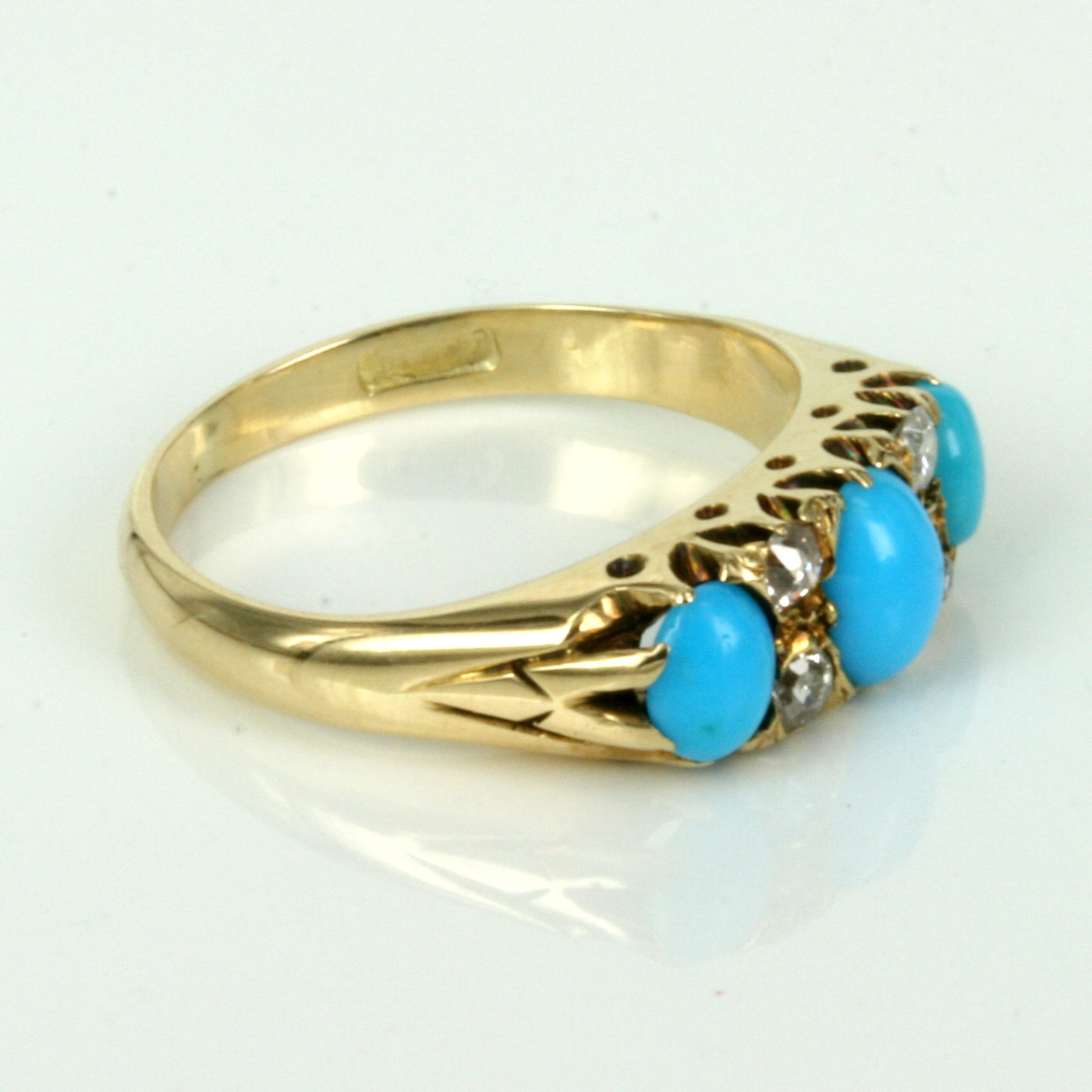 cabochon full item turquoise to gold diamond click solid expand ring retro