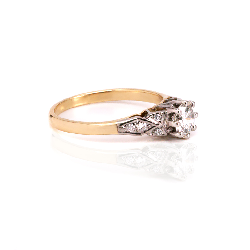 Yellow Gold Diamond Platinum: Art Deco Diamond Engagement Ring In 18ct Yellow Gold And