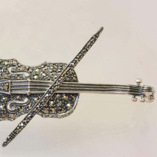 Sterling silver violin brooch