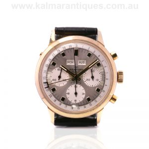 Gents vintage Wakmann triple date chronograph watch
