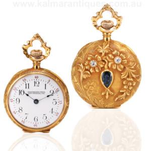 Antique Waltham pocket watch retailed by Montgomery Bros Los Angeles