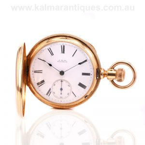 High grade 18 carat gold Waltham pocket watch made in 1888 in exceptional condition
