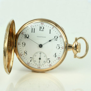 1917 Waltham pocket in 14ct gold.