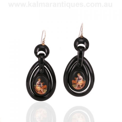 Antique Whitby jet and painted porcelain drop earrings