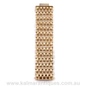 Vintage 14ct gold wide cuff bracelet